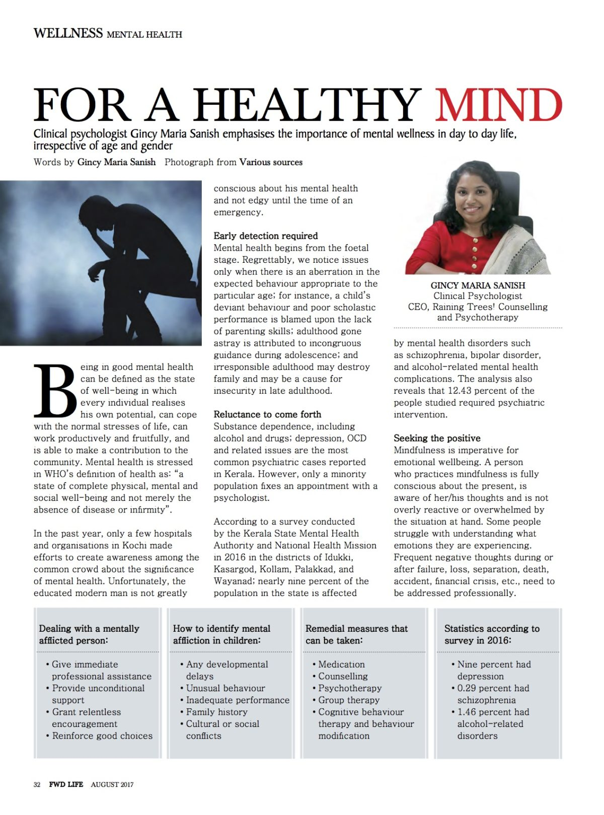 """For A Healthy Mind "" latest article in FWD Premium Life style Magazine August 2017 Issue"